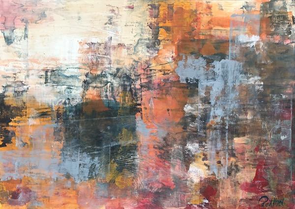 Luise Raithel Fog 75x54cm Acrylfarbe auf Holz Expressionismus Acrylmalerei