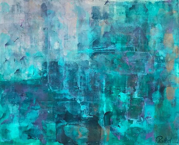 Luise Raithel Lakescape 59x48,2cm Acrylfarbe auf Holz Acrylmalerei