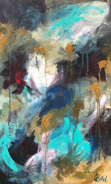 Luise Raithel Turbulences 42x68cm Acrylfarbe und Strukturpaste auf Holz Expressionismus Acrylmalerei